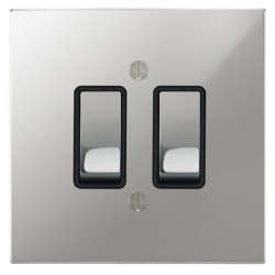 Focus SB Ambassador Square Corners NAPC11.2B 2 gang 20 amp 2 way rocker switch in Polished Chrome with black inserts