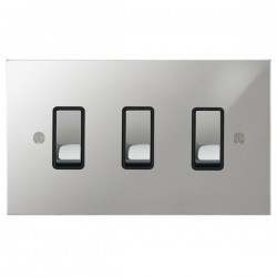 Focus SB Ambassador Square Corners NAPC11.3B 3 gang 20 amp 2 way rocker switch in Polished Chrome with black inserts