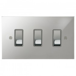 Focus SB Ambassador Square Corners NAPC11.3W 3 gang 20 amp 2 way rocker switch in Polished Chrome with white inserts
