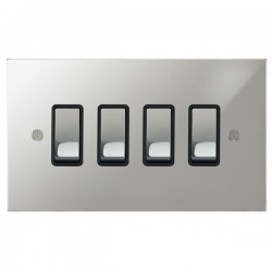 Focus SB Ambassador Square Corners NAPC11.4B 4 gang 20 amp 2 way rocker switch in Polished Chrome with black inserts