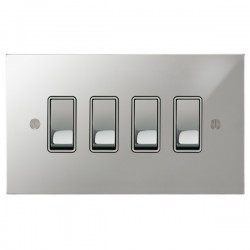 Focus SB Ambassador Square Corners NAPC11.4W 4 gang 20 amp 2 way rocker switch in Polished Chrome with white inserts