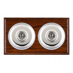Hamilton Bloomsbury Ovolo Antique Mahogany Plain Bright Chrome 2 Gang 2 Way Toggle with Black Insert