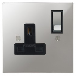 Focus SB Ambassador Square Corners NAPC18.1B 1 gang 13 amp switched socket in Polished Chrome with black inserts