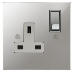Focus SB Ambassador Square Corners NAPC18.1W 1 gang 13 amp switched socket in Polished Chrome with white inserts