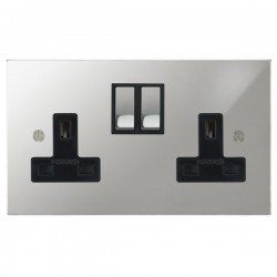 Focus SB Ambassador Square Corners NAPC18.2B 2 gang 13 amp switched socket in Polished Chrome with black inserts