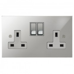 Focus SB Ambassador Square Corners NAPC18.2W 2 gang 13 amp switched socket in Polished Chrome with white inserts