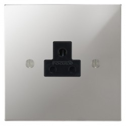 Focus SB Ambassador Square Corners NAPC19.1B 1 gang 2 amp unswitched socket in Polished Chrome with black inserts