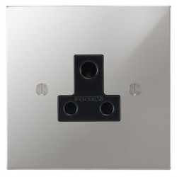 Focus SB Ambassador Square Corners NAPC20.1B 1 gang 5 amp unswitched socket in Polished Chrome with black inserts