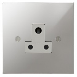 Focus SB Ambassador Square Corners NAPC20.1W 1 gang 5 amp unswitched socket in Polished Chrome with white inserts