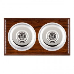 Hamilton Bloomsbury Ovolo Antique Mahogany Plain Bright Chrome 2 Gang 2 Way Toggle with White Insert