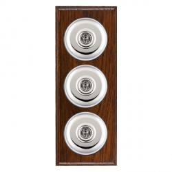 Hamilton Bloomsbury Ovolo Antique Mahogany Plain Bright Chrome 3 Gang 2 Way Toggle with Black Insert