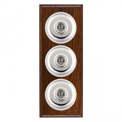 Hamilton Bloomsbury Ovolo Antique Mahogany Plain Bright Chrome 3 Gang 2 Way Toggle with White Insert