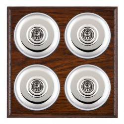 Hamilton Bloomsbury Ovolo Antique Mahogany Plain Bright Chrome 4 Gang 2 Way Toggle with Black Insert