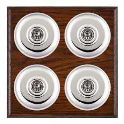 Hamilton Bloomsbury Ovolo Antique Mahogany Plain Bright Chrome 4 Gang 2 Way Toggle with White Insert