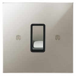 Focus SB Ambassador Square Corners NAPN11.1B 1 gang 20 amp 2 way rocker switch in Polished Nickel with black inserts