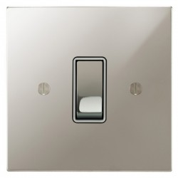 Focus SB Ambassador Square Corners NAPN11.1W 1 gang 20 amp 2 way rocker switch in Polished Nickel with white inserts