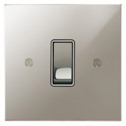 Focus SB Ambassador Square Corners NAPN11.1/3W 1 gang 20 amp Intermediate rocker switch in Polished Nickel with White Inserts