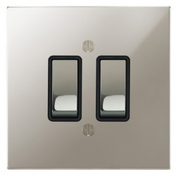Focus SB Ambassador Square Corners NAPN11.2B 2 gang 20 amp 2 way rocker switch in Polished Nickel with black inserts