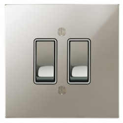 Focus SB Ambassador Square Corners NAPN11.2W 2 gang 20 amp 2 way rocker switch in Polished Nickel with white inserts