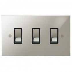 Focus SB Ambassador Square Corners NAPN11.3B 3 gang 20 amp 2 way rocker switch in Polished Nickel with black inserts