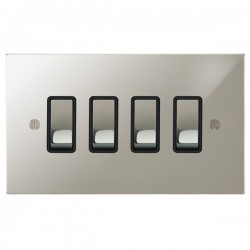Focus SB Ambassador Square Corners NAPN11.4B 4 gang 20 amp 2 way rocker switch in Polished Nickel with black inserts