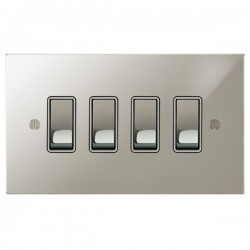 Focus SB Ambassador Square Corners NAPN11.4W 4 gang 20 amp 2 way rocker switch in Polished Nickel with white inserts