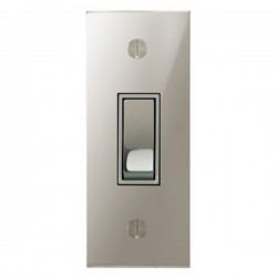 Focus SB Ambassador Square Corners NAPN16.1W 1 gang 20 amp 2 way architrave switch in Polished Nickel with white inserts