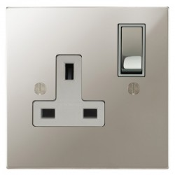 Focus SB Ambassador Square Corners NAPN18.1W 1 gang 13 amp switched socket in Polished Nickel with white inserts