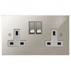 Focus SB Ambassador Square Corners NAPN18.2W 2 gang 13 amp switched socket in Polished Nickel with white inserts