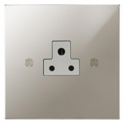 Focus SB Ambassador Square Corners NAPN19.1W 1 gang 2 amp unswitched socket in Polished Nickel with white inserts