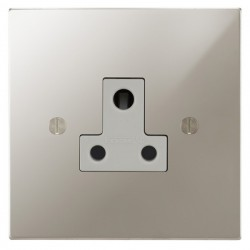 Focus SB Ambassador Square Corners NAPN20.1W 1 gang 5 amp unswitched socket in Polished Nickel with white inserts