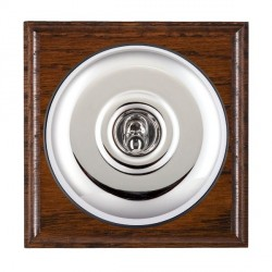 Hamilton Bloomsbury Ovolo Antique Mahogany Plain Bright Chrome 1 Gang Double Pole Toggle with Black Insert