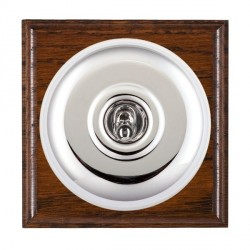 Hamilton Bloomsbury Ovolo Antique Mahogany Plain Bright Chrome 1 Gang Double Pole Toggle with White Insert