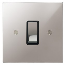 Focus SB Ambassador Square Corners NAPS11.1B 1 gang 20 amp 2 way rocker switch in Polished Stainless with black inserts