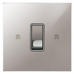 Focus SB Ambassador Square Corners NAPS11.1W 1 gang 20 amp 2 way rocker switch in Polished Stainless with white inserts