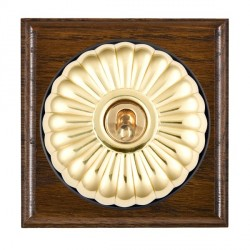 Hamilton Bloomsbury Ovolo Dark Oak Fluted Polished Brass 1 Gang 2 Way Toggle with Black Insert