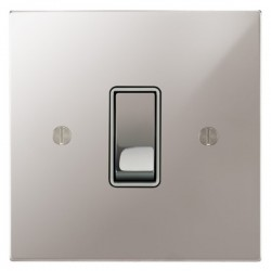 Focus SB Ambassador Square Corners NAPS11.1/3W 1 gang 20 amp Intermediate rocker switch in Polished Stainless with White Inserts