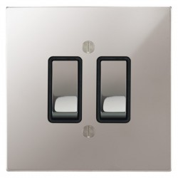Focus SB Ambassador Square Corners NAPS11.2B 2 gang 20 amp 2 way rocker switch in Polished Stainless with black inserts