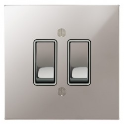 Focus SB Ambassador Square Corners NAPS11.2W 2 gang 20 amp 2 way rocker switch in Polished Stainless with white inserts