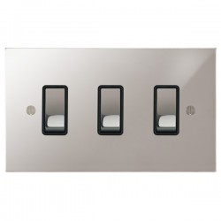 Focus SB Ambassador Square Corners NAPS11.3B 3 gang 20 amp 2 way rocker switch in Polished Stainless with black inserts