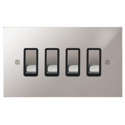 Focus SB Ambassador Square Corners NAPS11.4B 4 gang 20 amp 2 way rocker switch in Polished Stainless with black inserts
