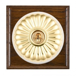 Hamilton Bloomsbury Ovolo Dark Oak Fluted Polished Brass 1 Gang 2 Way Toggle with White Insert