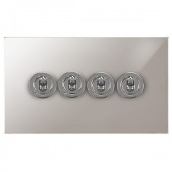 Focus SB Ambassador Square Corners NAPS14.4 4 gang 20 amp 2 way toggle switch in Polished Stainless