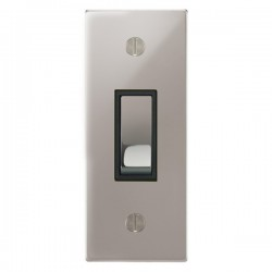 Focus SB Ambassador Square Corners NAPS16.1B 1 gang 20 amp 2 way architrave switch in Polished Stainless with black inserts