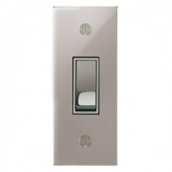 Focus SB Ambassador Square Corners NAPS16.1W 1 gang 20 amp 2 way architrave switch in Polished Stainless with white inserts