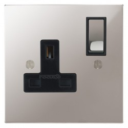 Focus SB Ambassador Square Corners NAPS18.1B 1 gang 13 amp switched socket in Polished Stainless with black inserts