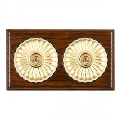 Hamilton Bloomsbury Ovolo Dark Oak Fluted Polished Brass 2 Gang 2 Way Toggle with Black Insert