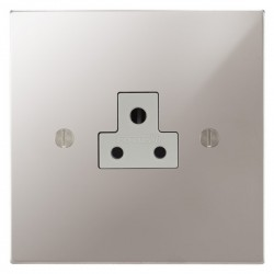 Focus SB Ambassador Square Corners NAPS19.1W 1 gang 2 amp unswitched socket in Polished Stainless with white inserts