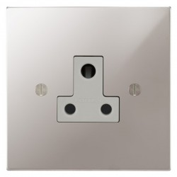 Focus SB Ambassador Square Corners NAPS20.1W 1 gang 5 amp unswitched socket in Polished Stainless with white inserts