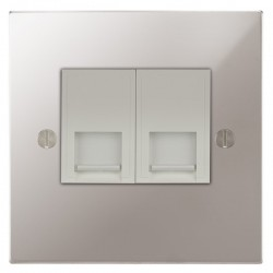 Focus SB Ambassador Square Corners NAPS24.2W 2 gang master telephone socket in Polished Stainless with white inserts